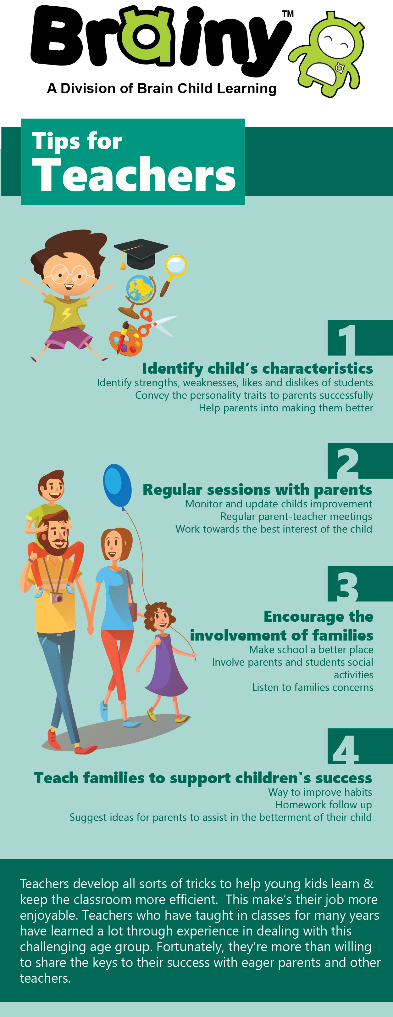 Brainy Infographic on tips for teachers to better students