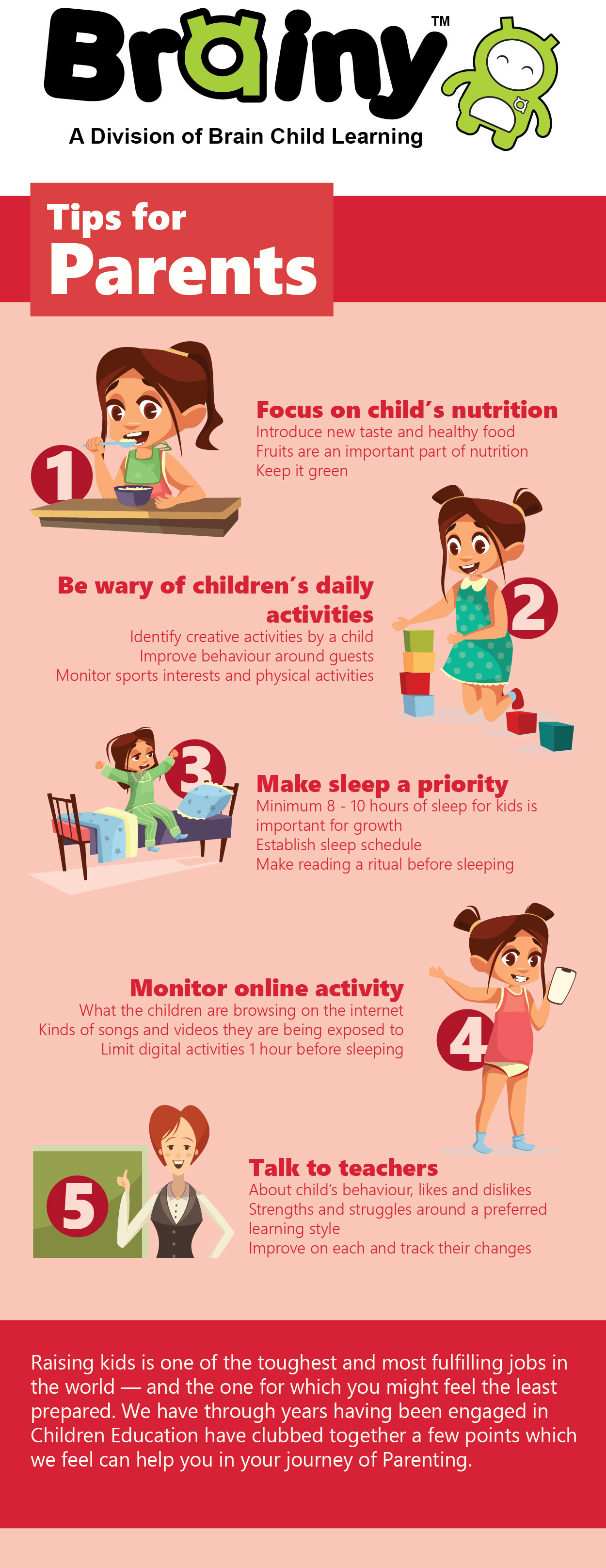 Infographic on tips for parents to better parenting